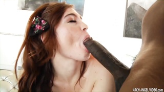 Red haired sexy babe Jodi Taylor ass riding massive monstrous black cock