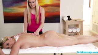 A horny afternoon lesbian sex action at the spa
