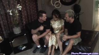 Asa Akira doing Nuru Body-rub