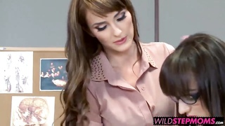 MILF instructor helps out failing college student with her stepdaugther