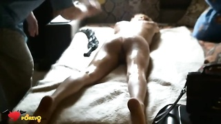 Fucker is slapping her bum and poking her cellular phone with a sex toy