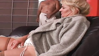 Astonishing mature blond is jumping high on his very large hard pole