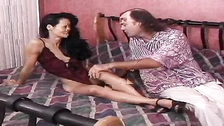 Kinky dark haired Chinese milf is liking his immense wide sausage