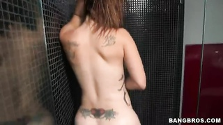 Slut with sexy inked ass hole posing in hit the showers in front webcam