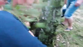 Nasty lustful sweety will get got fucked by 2 studs in precisely the woods