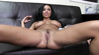 Sexy dark haired with big breasts is nailing in her harmless face