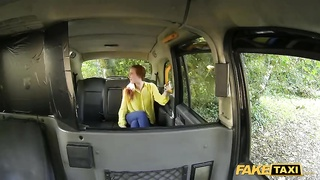 Redhead chick provides a head correct in exactly the Pretend Taxi