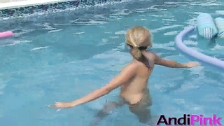 Huge-chested bare naked teen Andi Pink illustrates herself in exactly the pool