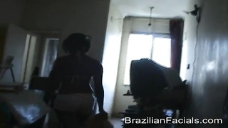 Impressively humongous Brazilian jizz facial load for an harmless teen