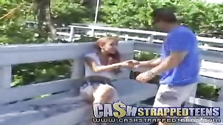 Proficient redhead teen will get some money from a mature fucker