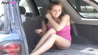 Fascinating young cutie Andi Pink in automobile is having an finest shape