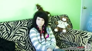 Emo female friend will get bare naked and jerks off her shaved g-spot