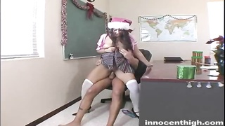 Bitchy dark-haired schoolgirl will get nailed by her ebony instructor