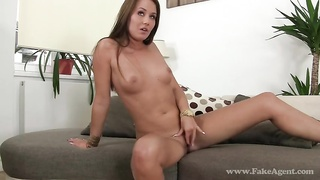 Slender young woman is spreading her stems and jumping on a boner