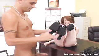 Big Boobed redhead schoolgirl is being pinched on exactly the table