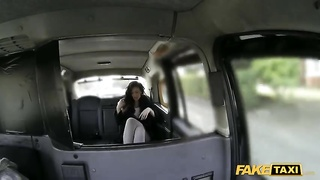 Kinky dark-haired providing a head and having sex with taxi driver