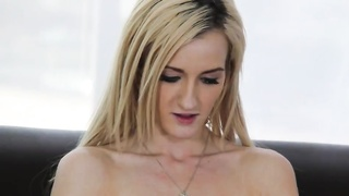 Harmless homemade blond is playing with her cage at exactly the try-out