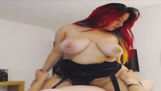 barecamgirl.com USA redheaded mature bigtits bouncing while riding cock webcam