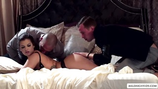 Her fantasy made into reality Keisha Grey suck and fuck two massive cock