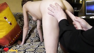 Her succulent rounded rectum is getting your hands on affixed by a long fake cock