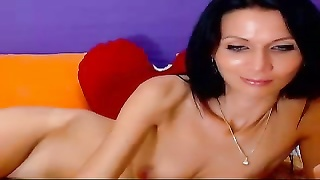 Smoking advanced black-haired poses bare naked and beats off on precisely the cam