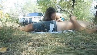 Violent girl-friend is blowing a dicks of her fuck buddy in exactly the woods