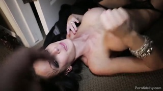 303644Heavily slutty milf is taking his big hard-on deep in her wide-opened mouth