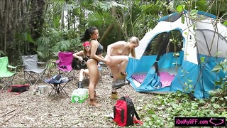 Hot besties enjoyed camping and groupsex