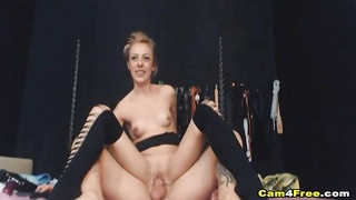 Blonde Girl Deepthroat Sucking Of Hard Cock