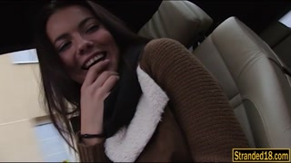 304889Pretty amateur teen railed in the car