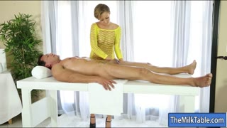305073Short hair masseuse drilled by client