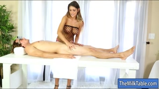 Lusty masseuse tit fucked and blowjobs