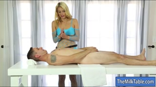 Blonde masseuse blowjobs under the table