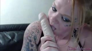 Tattooed chunky honey girl Chambers puts in pussy dildo sword