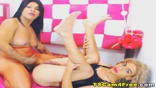 Blonde Shemale gets her Ass Rammed by her Friend