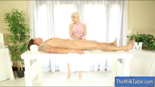 Lusty masseuse blowjobs under the table