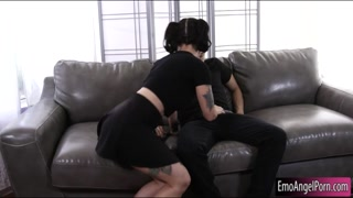 Goth girl with glasses pounded real hard