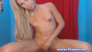 Sexy Blonde Tranny Rides Her Friend's Hard Cock