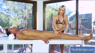 Tight masseuse blowjobs under the table