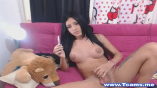 Brunette Tranny Enjoys Playing Her Cock and Ass