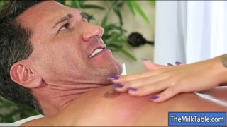Sexy masseuse blowjobs under the table