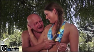 Teen Agata outdoor fuck by two grandpas