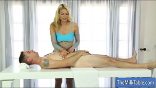 Tight blond masseuse blow-jobs hard tool