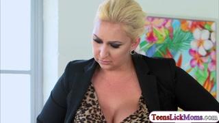 Stepmom Nina licks horny Kimmys pussy