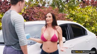 MILF washed car and fucked by huge dick