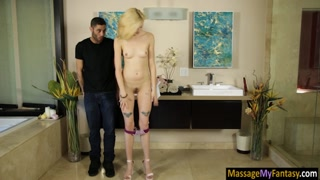 Slim babe gives soapy massage and banged