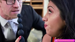 Brunette sexy sex addict Julia gets banged by psycho doctor