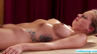 Attractive hot masseuse Lena mounts Zoes sexy pussy