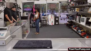 Ebony babe gets banged in the pawnshop