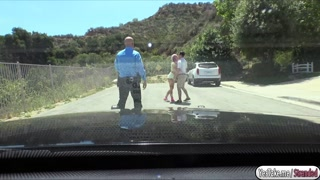 Naughty Aidra fucks officer in public
